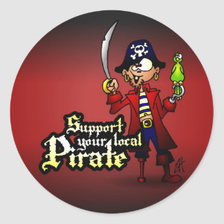 Support your local Pirate Classic Round Sticker