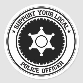 Support Your Local Police Officer Classic Round Sticker