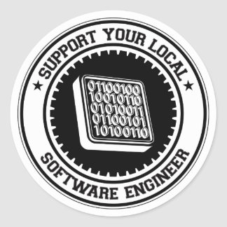 Support Your Local Software Engineer Round Stickers