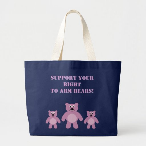Support Your Right To Arm Bears Cute Animal Rights Jumbo Tote Bag
