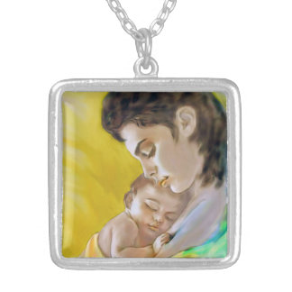 Supporter with picture mother and child silver plated necklace