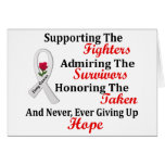 Supporting Admiring Honoring 2 LUNG CANCER Greeting Cards