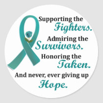 Supporting Admiring Honoring 2 OVARIAN CANCER Classic Round Sticker