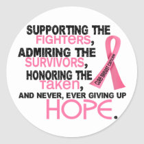 Supporting Admiring Honoring 3.2 Breast Cancer Classic Round Sticker