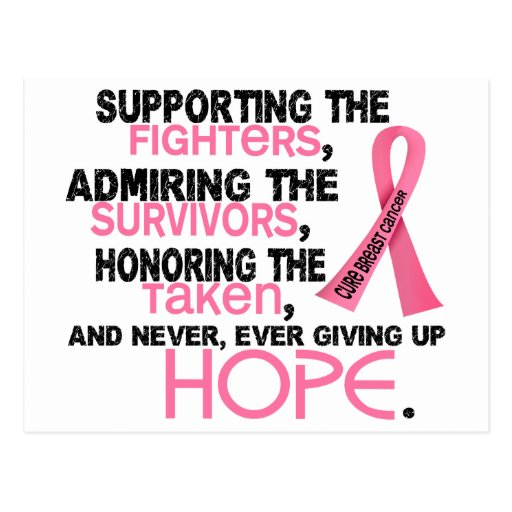 Supporting Admiring Honoring 3.2 Breast Cancer Postcard