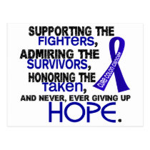 Supporting Admiring Honoring 3.2 Colon Cancer Postcard