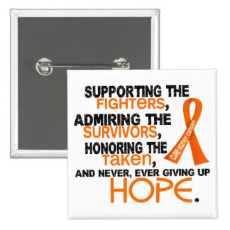 Supporting Admiring Honoring 3.2 Kidney Cancer 2 Inch Square Button