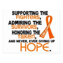Supporting Admiring Honoring 3.2 Leukemia Postcard