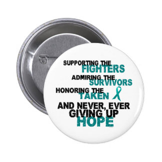 Supporting Admiring Honoring 3 OVARIAN CANCER Pinback Button