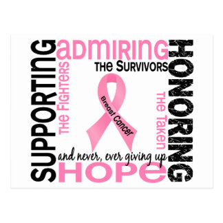 Supporting Admiring Honoring 9 Breast Cancer Postcard