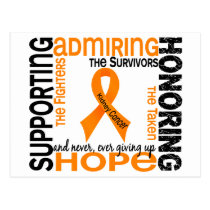 Supporting Admiring Honoring 9 Kidney Cancer Postcard