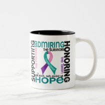 Supporting Admiring Honoring 9 Thyroid Cancer Two-Tone Coffee Mug