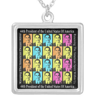 Supporting Barack Obama Square Pendant Necklace