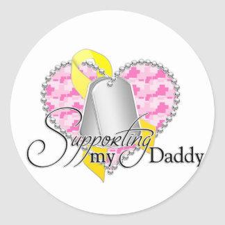 supporting my daddy(pink) classic round sticker