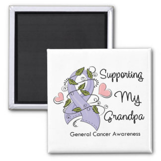 Supporting My Grandpa - Cancer Awareness 2 Inch Square Magnet