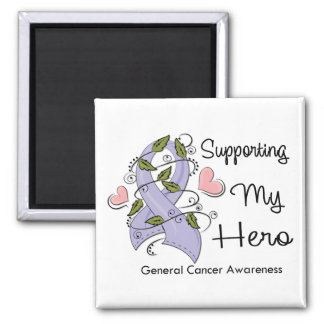Supporting My Hero - Cancer Awareness 2 Inch Square Magnet