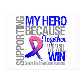 Supporting My Hero - Male Breast Cancer Awareness Postcard