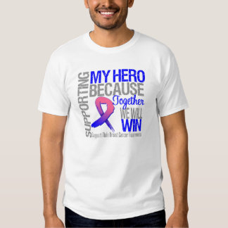 Supporting My Hero - Male Breast Cancer Awareness T Shirt