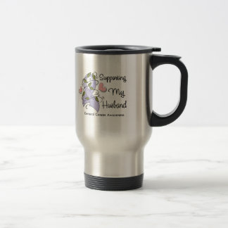 Supporting My Husband - Cancer Awareness 15 Oz Stainless Steel Travel Mug