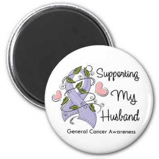 Supporting My Husband - Cancer Awareness 2 Inch Round Magnet