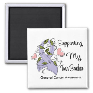 Supporting My Twin Brother - Cancer Awareness 2 Inch Square Magnet