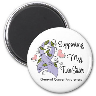 Supporting My Twin Sister - Cancer Awareness 2 Inch Round Magnet