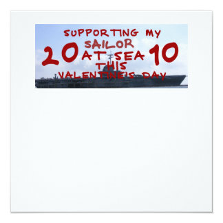 SUPPORTING SAILOR AT SEA VALENTINES DAY 5.25X5.25 SQUARE PAPER INVITATION CARD