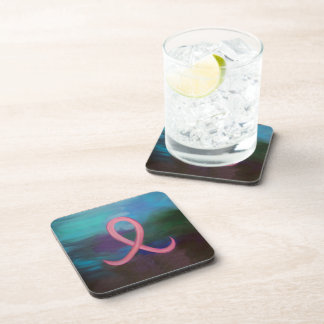 Supportive Bar | Bold Pink Breast Cancer Ribbon Drink Coaster