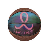 Supportive Bold Pink Breast Cancer Ribbon Basketball