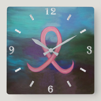 Supportive Bold Pink Breast Cancer Ribbon Square Wall Clock