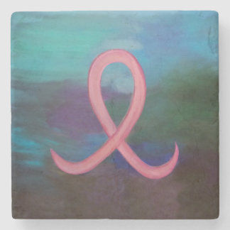 Supportive Bold Pink Breast Cancer Ribbon Stone Coaster