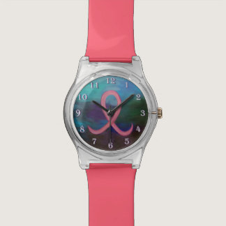 Supportive Bold Pink Breast Cancer Ribbon Watches