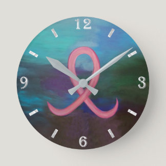 Supportive Decor   Bold Pink Breast Cancer Ribbon Round Clock