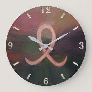 Supportive Decor   Rust Pink Breast Cancer Ribbon Large Clock