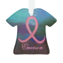 Supportive Holiday | Bold Pink Cancer Ribbon Year Ornament