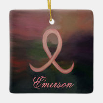 Supportive Holiday | Rust Pink Cancer Ribbon Name Ceramic Ornament