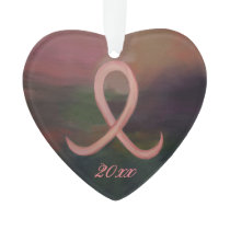 Supportive Holiday | Rust Pink Cancer Ribbon Year Ornament
