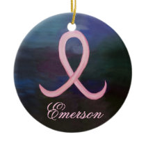 Supportive Holiday | Soft Pink Cancer Ribbon Name Ceramic Ornament