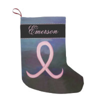Supportive Holiday | Soft Pink Cancer Ribbon Name Small Christmas Stocking