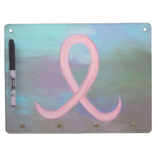 Supportive Kitchen | Bold Pink Cancer Ribbon Dry Erase Board With Keychain Holder