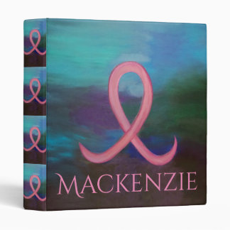 Supportive Office | Bold Pink Breast Cancer Name 3 Ring Binder