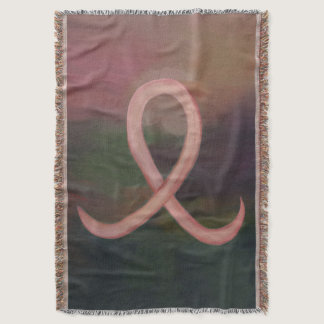 Supportive Rustic Awareness Ribbon Breast Cancer Throw