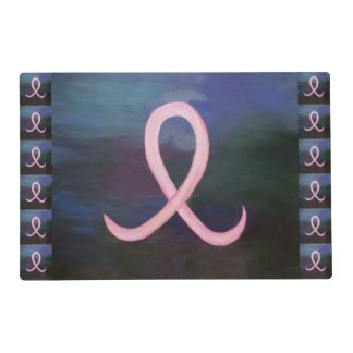 Supportive Soft Pink Breast Cancer Ribbon Placemat