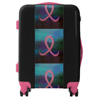 Supportive Style | Bold Pink Breast Cancer Ribbon Luggage