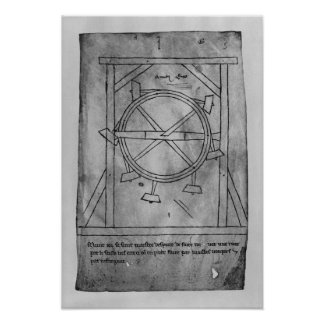 Supposedly perpetual motion mallets and wheel poster