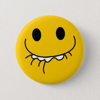 Suppressed laughing yellow smiley face button