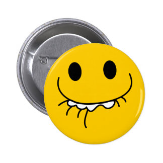Suppressed laughing yellow smiley face pinback button