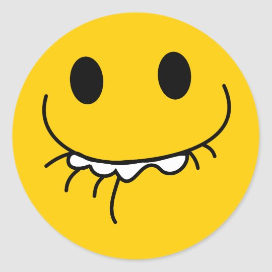 Suppressed laughing yellow smiley face classic round sticker