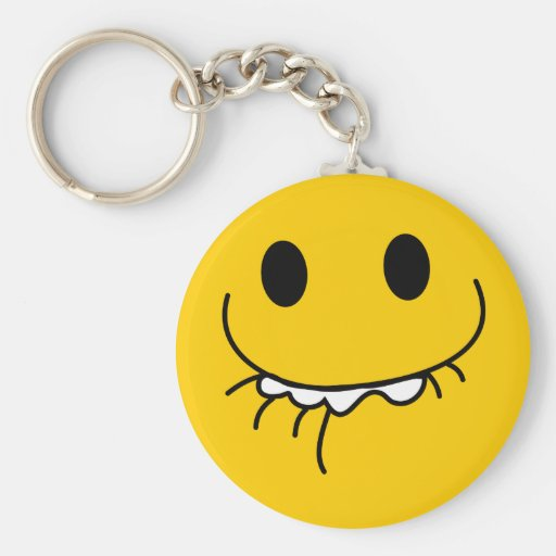 Suppressed laughing yellow smiley face keychain