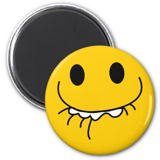 Suppressed laughing yellow smiley face magnet